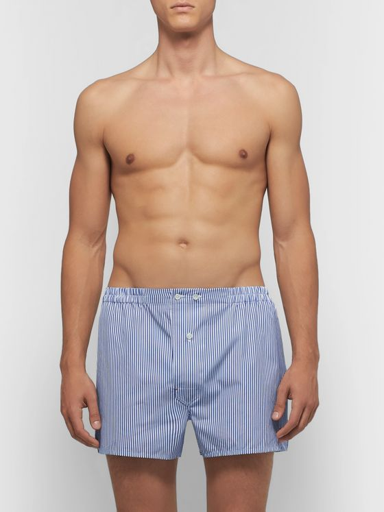 Isaia Striped Cotton Boxer Shorts