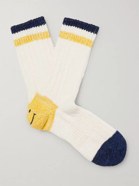 KAPITAL Smiley Striped Cotton and Hemp-Blend Socks
