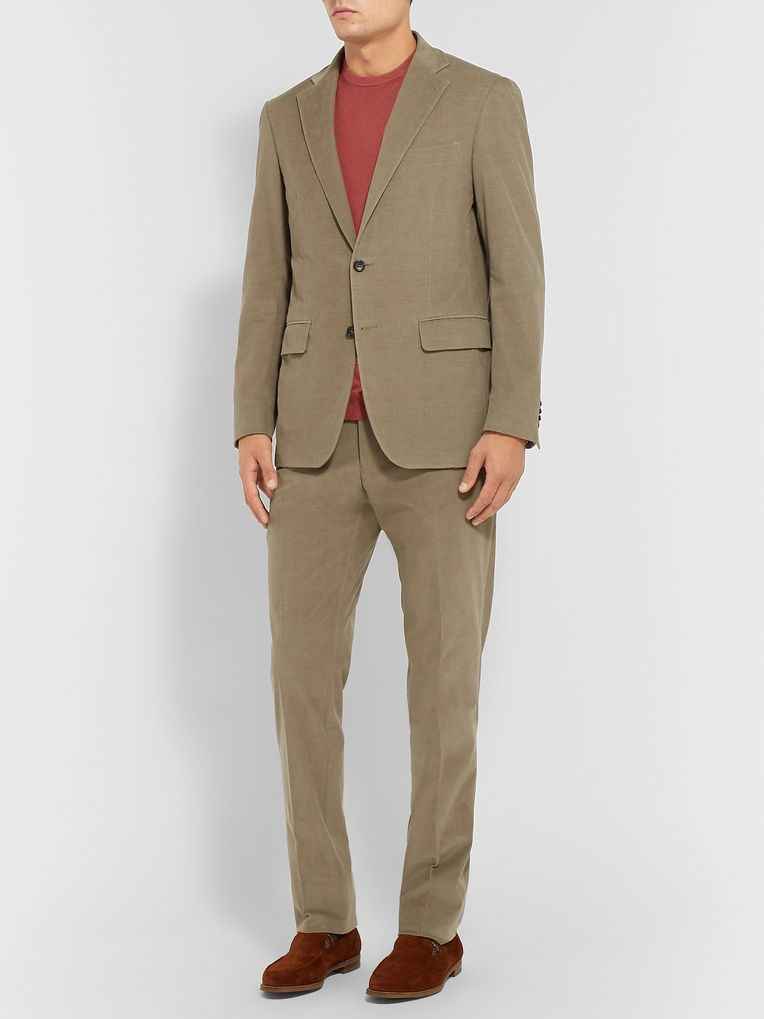 Canali Light-Brown Kei Cotton-Blend Corduroy Suit Trousers