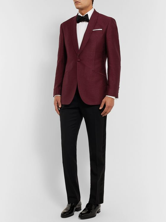 Richard James Burgundy Silk-Shantung Tuxedo Jacket