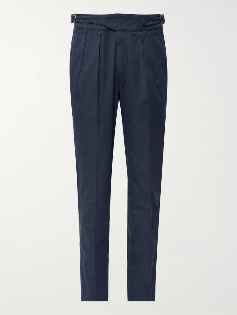 Rubinacci Navy Manny Tapered Pleated Cotton-Twill Trousers