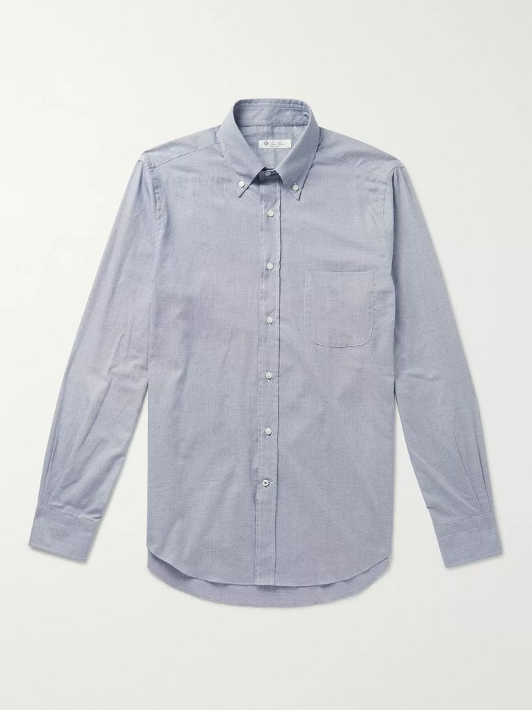 Loro Piana Alfred Button-Down Collar Puppytooth Brushed-Cotton Shirt
