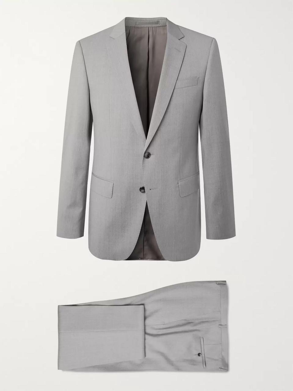 73167187 Gray Navy Huge/Genius Slim-Fit Super 120s Virgin Wool Suit | Hugo ...