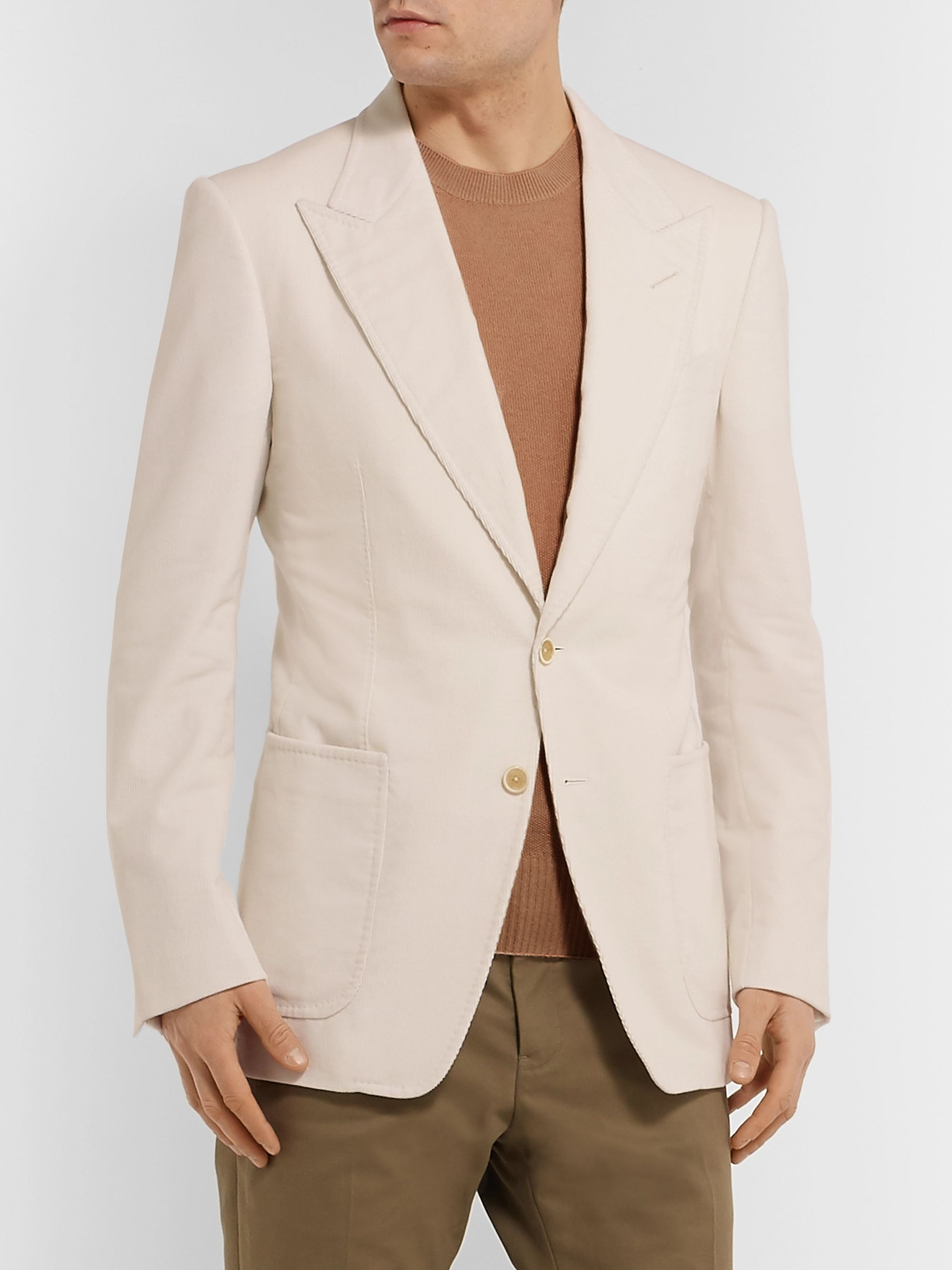 TOM FORD Cream Shelton Slim-Fit Cotton and Linen-Blend Corduroy Blazer