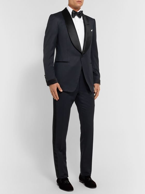 TOM FORD Midnight-Blue Shelton Slim-Fit Satin-Trimmed Grain de Poudre Tuxedo Trousers