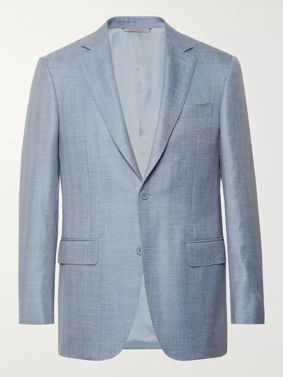 Canali Slim-Fit Light-Blue Wool, Silk and Linen-Blend Blazer