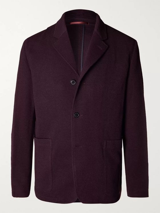 Paul Smith Burgundy Wool-Blend Bouclé Blazer