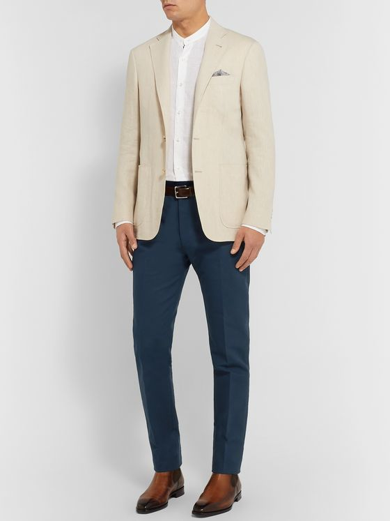 Berluti Navy Slim-Fit Tapered Cotton-Twill Chinos