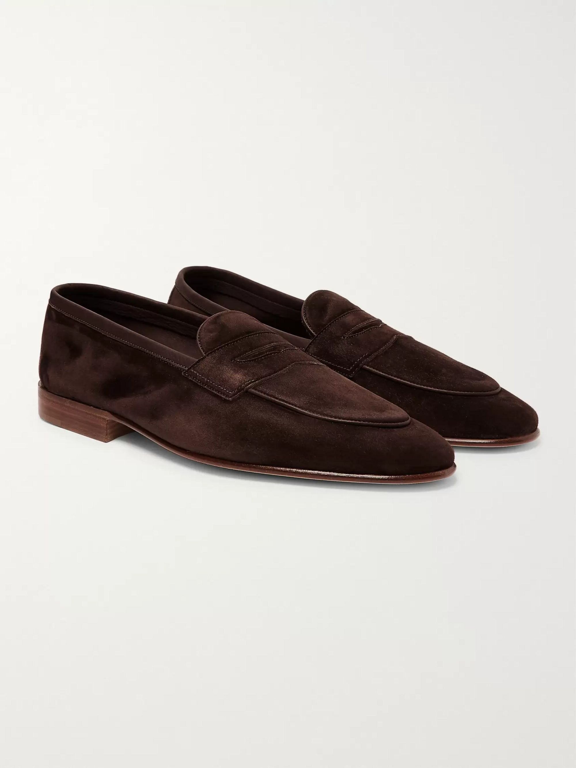 Edward Green Polperro Leather-Trimmed Suede Penny Loafers