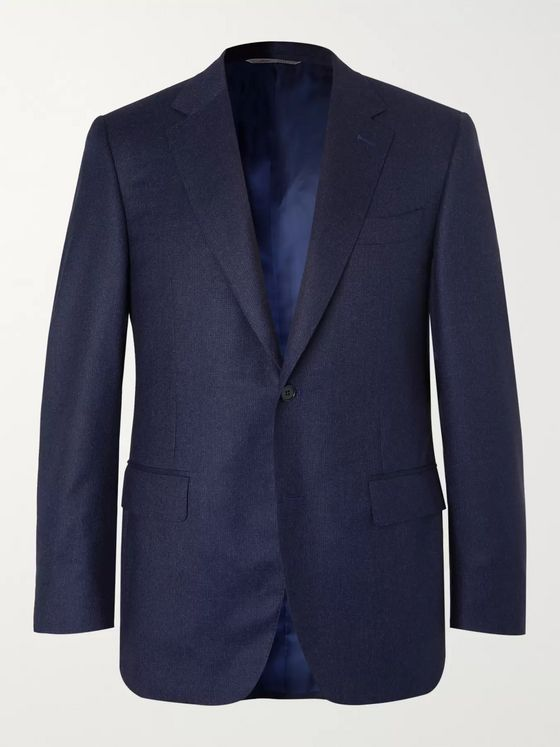 Canali Navy Super 120s Micro-Checked Wool Suit Jacket
