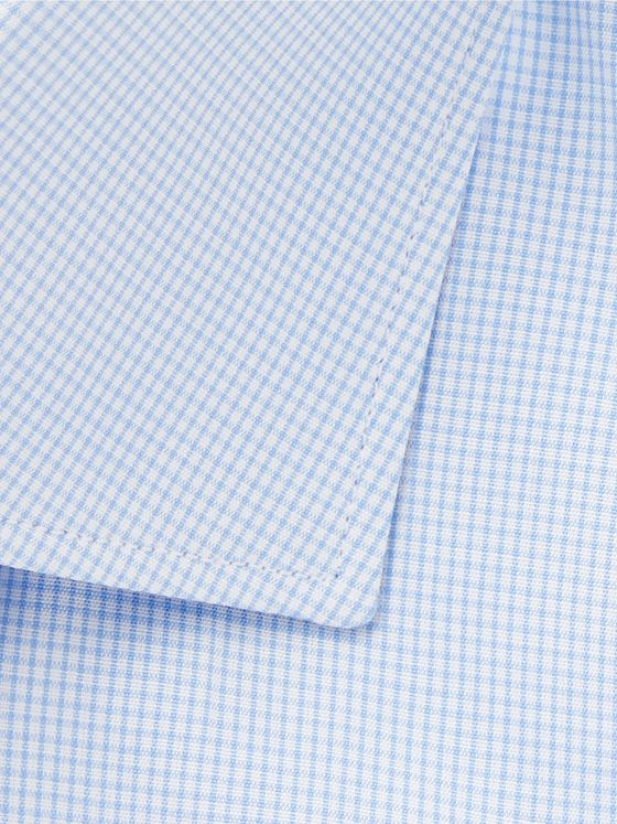 Brioni Light-Blue Slim-Fit Checked Cotton Shirt