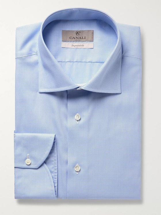 Canali Lilac Slim-Fit Cotton-Poplin Shirt