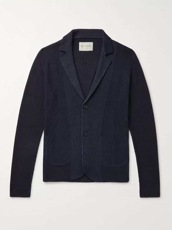 Etro Slim-Fit Ribbed Merino Wool Cardigan