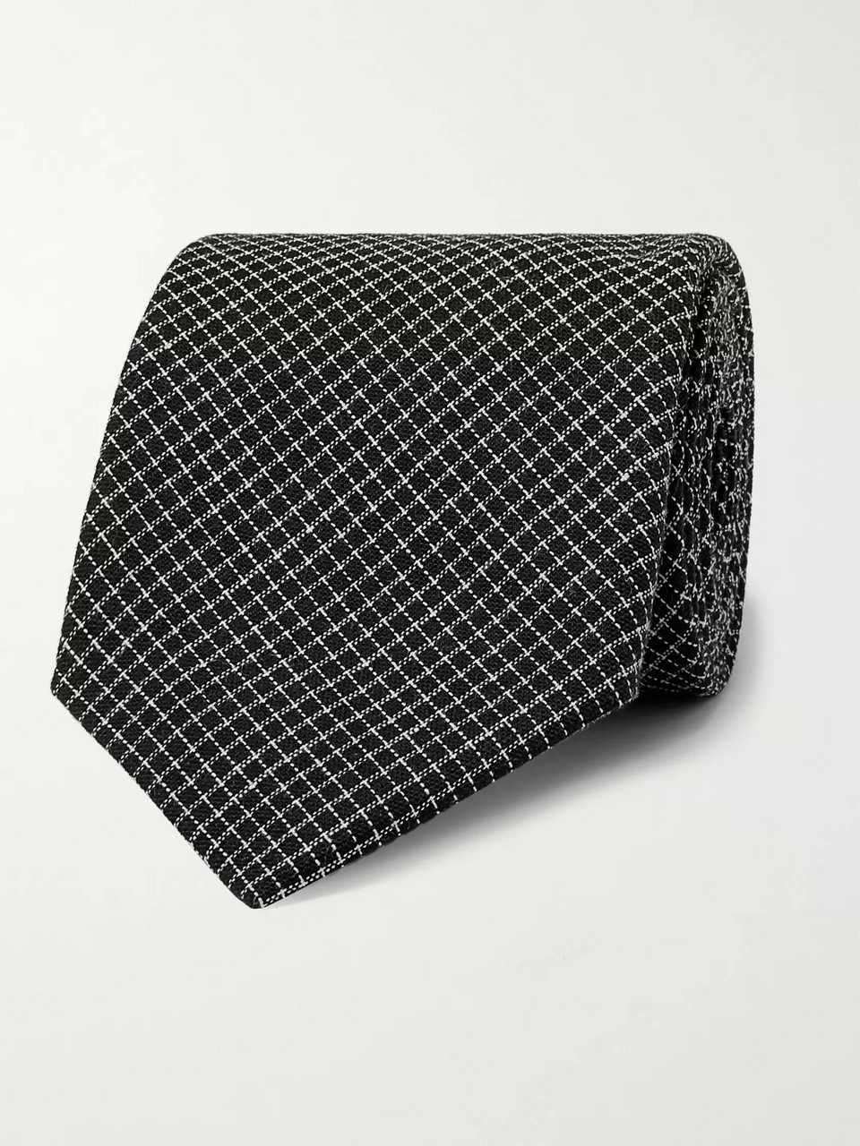 Oliver Spencer 8cm Kersley Micro-Checked Cotton and Linen-Blend Tie