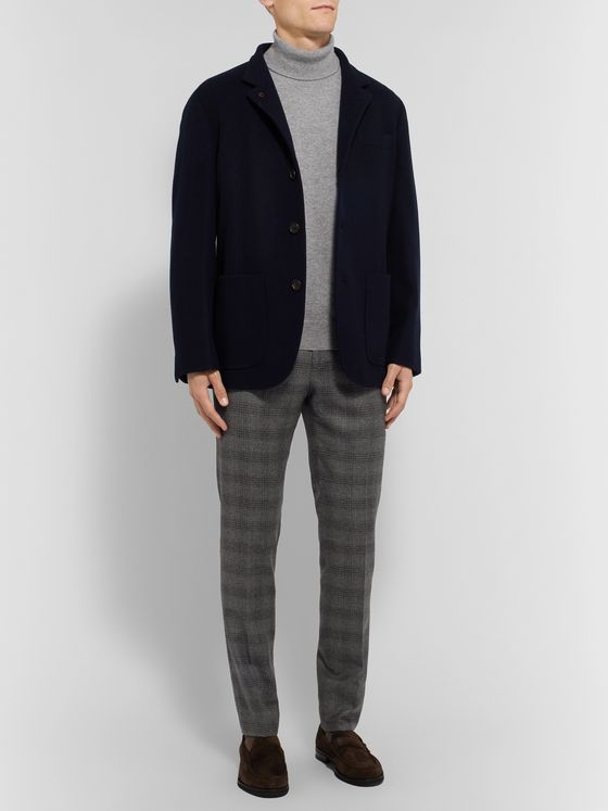 Etro Grey Slim-Fit Prince of Wales Checked Wool Trousers