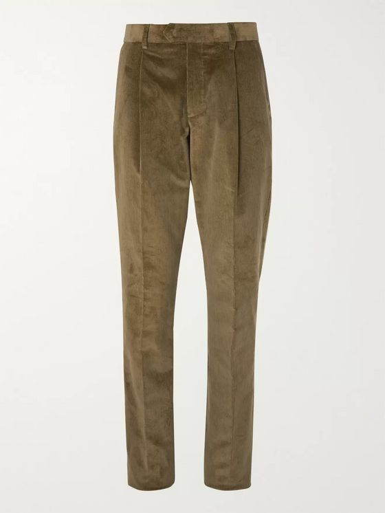 Caruso Green Slim-Fit Tapered Cotton-Blend Corduroy Suit Trousers