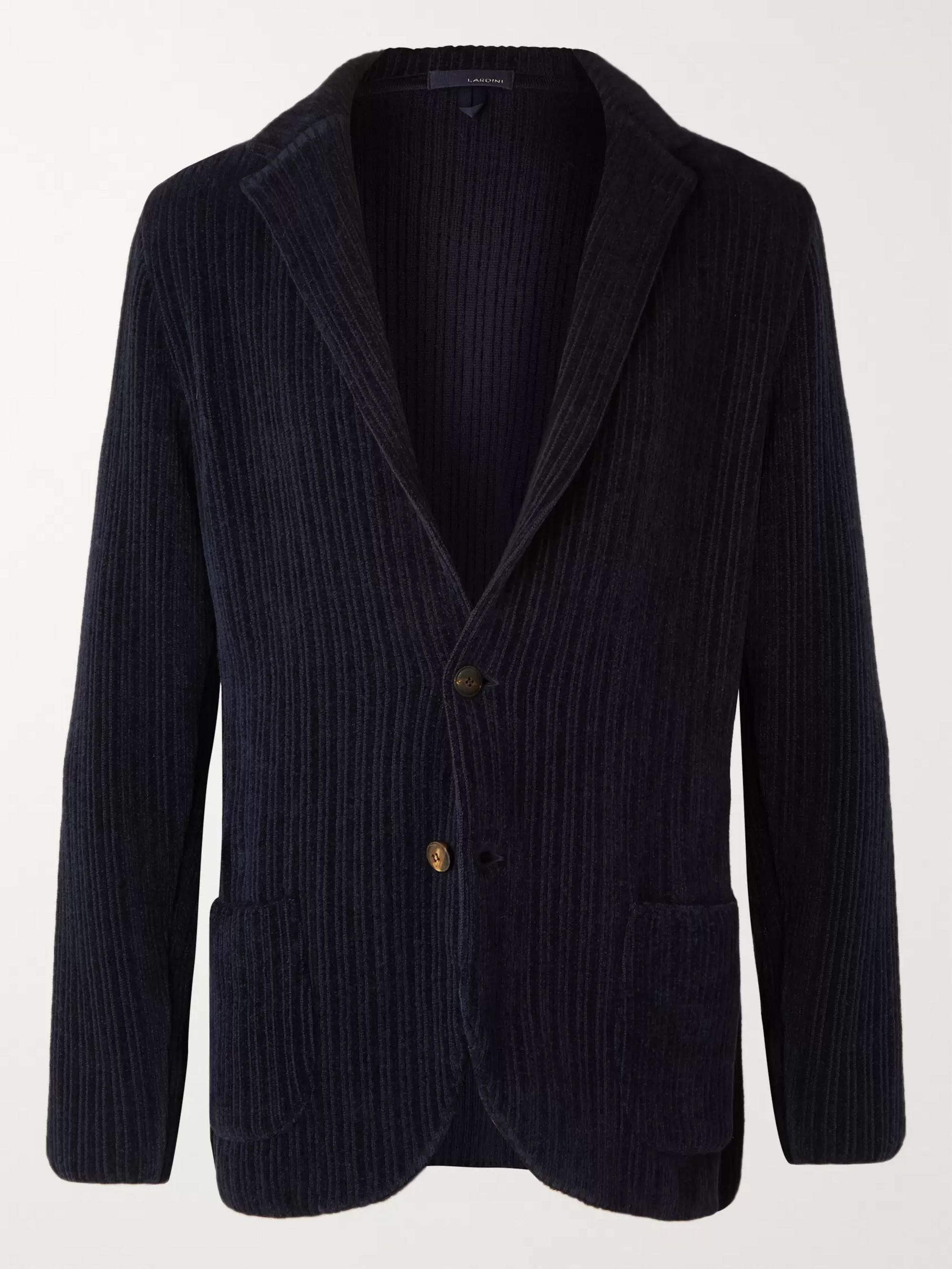 Lardini Burgundy Slim-Fit Unstructured Wool-Blend Chenille Blazer