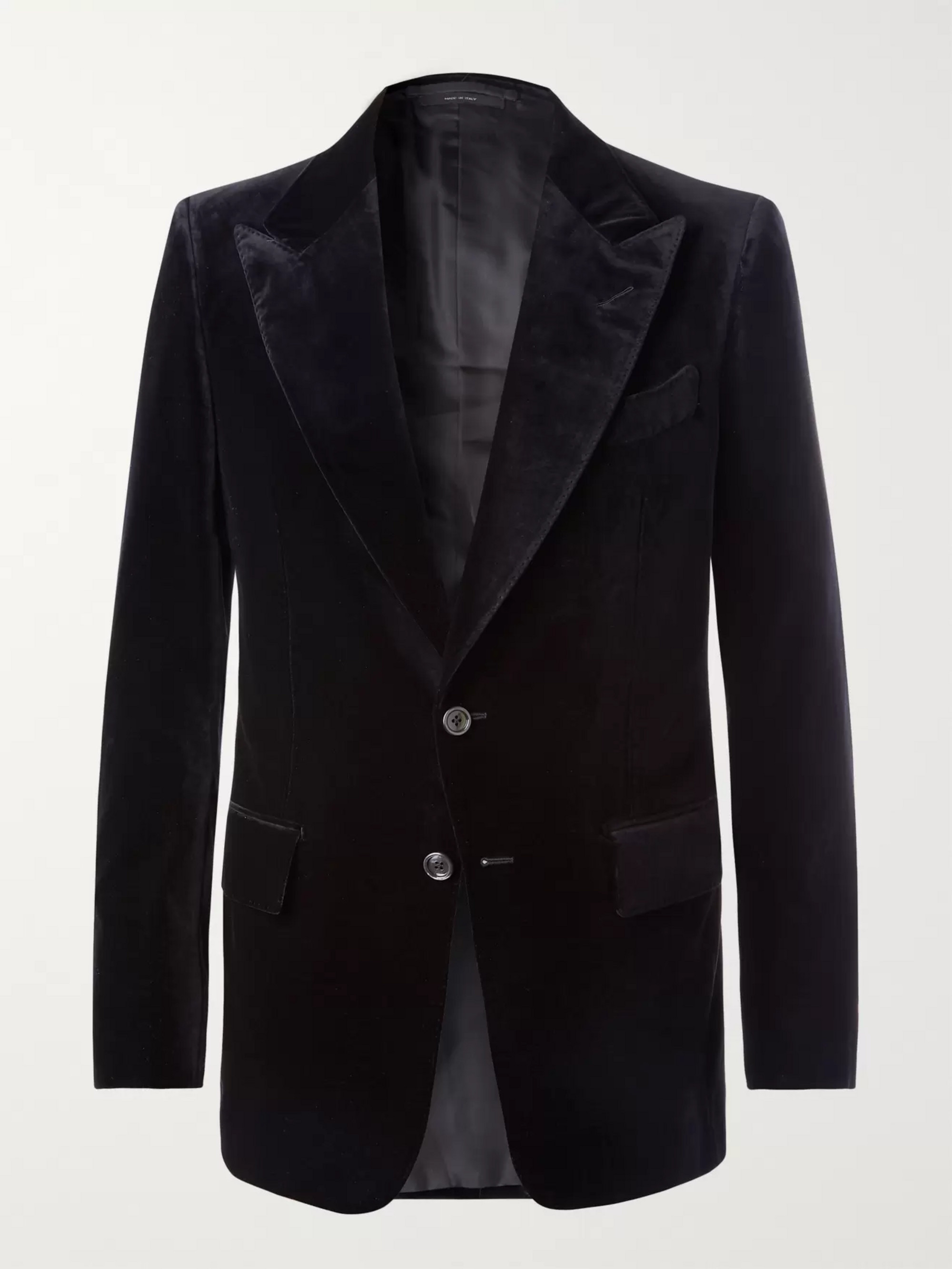TOM FORD Midnight-Blue Shelton Slim-Fit Velvet Suit Jacket