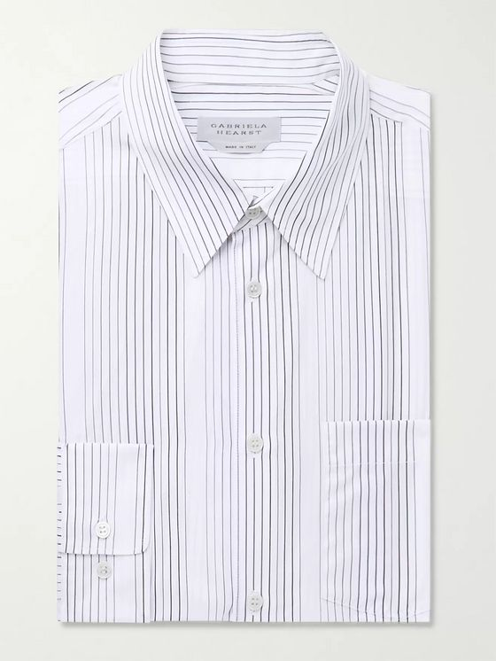 Gabriela Hearst Grey Reyes Striped Cotton-Poplin Shirt