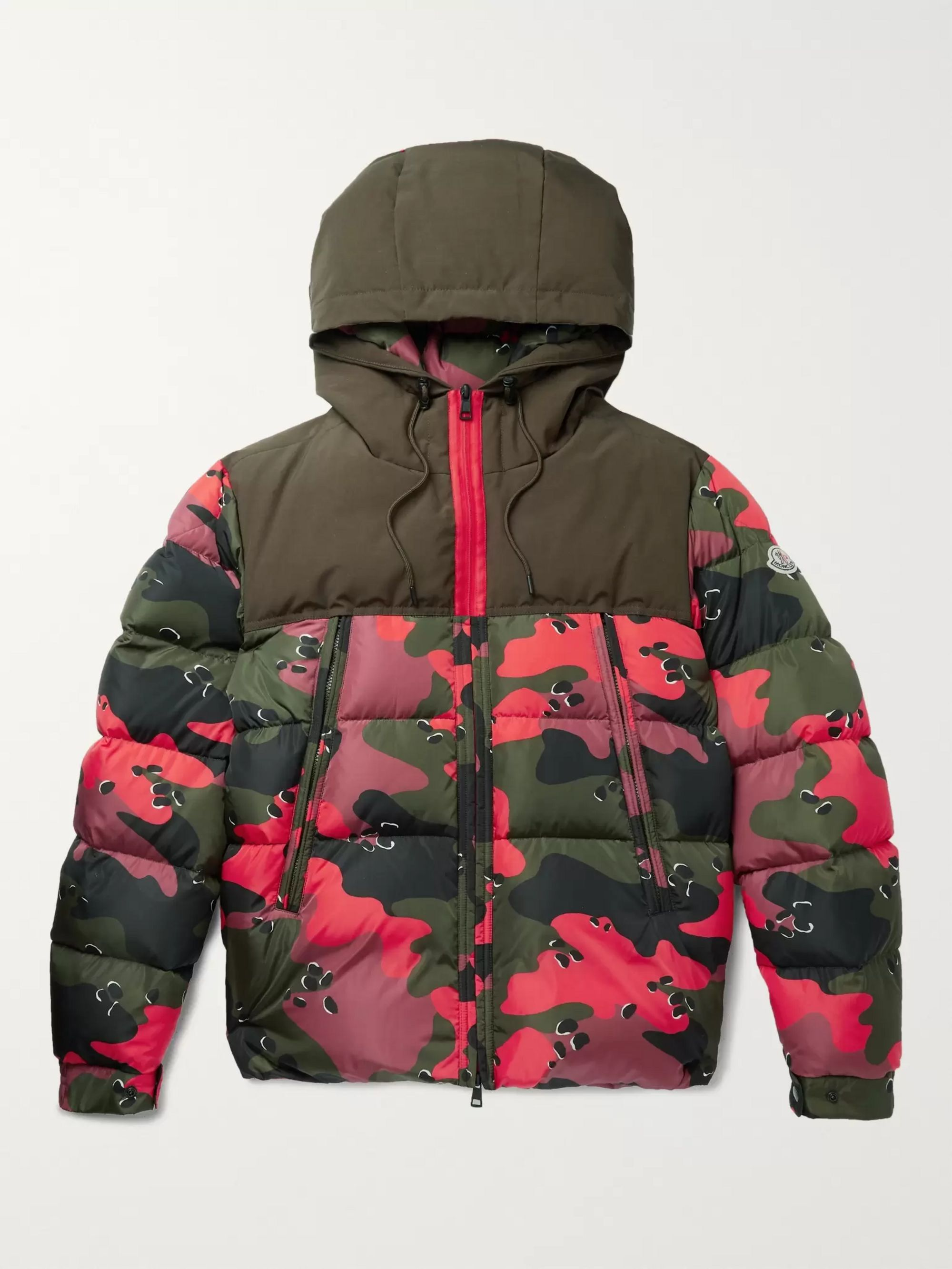 Quilted Camouflage Print Shell Hooded Down Jacket by Moncler