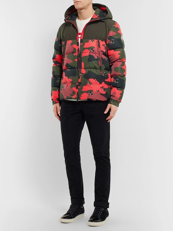 Moncler Quilted Camouflage-Print Shell Hooded Down Jacket