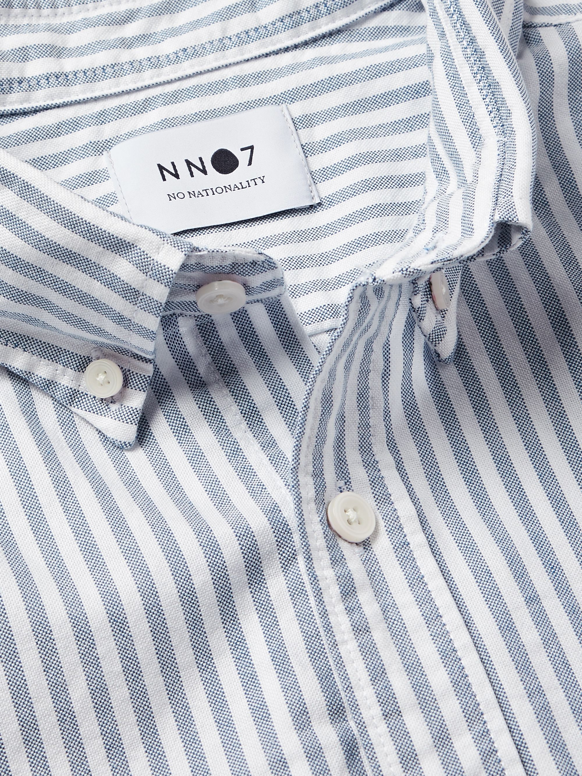 NN07 Levon Button-Down Collar Striped Cotton Oxford Shirt