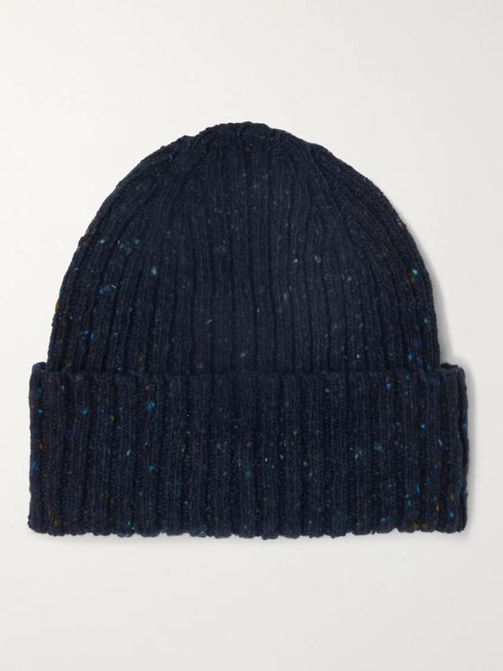 Drake's Ribbed Donegal Merino Wool Beanie