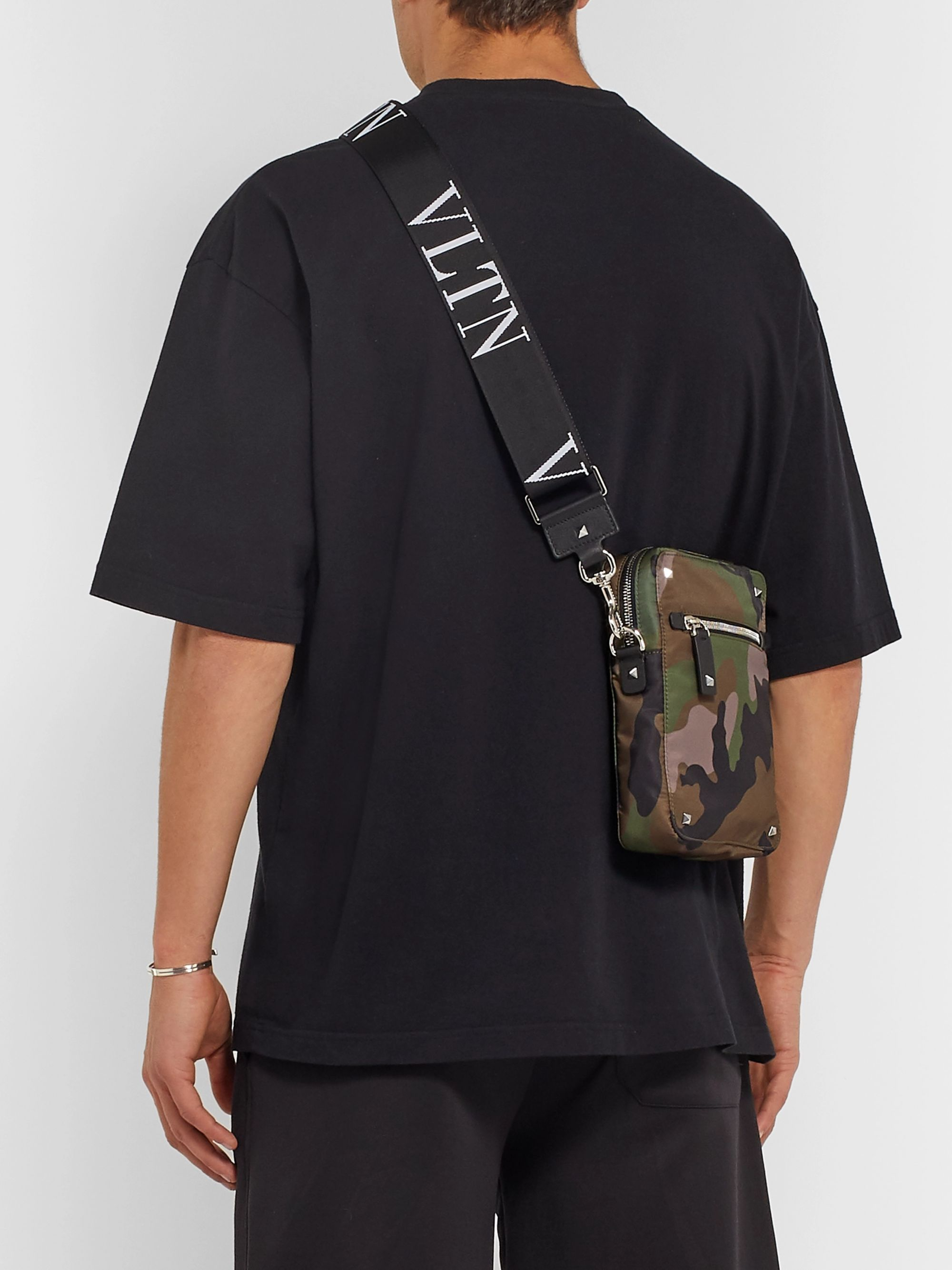 Valentino Valentino Garavani Leather-Trimmed Camouflage-Print Canvas Messenger Bag