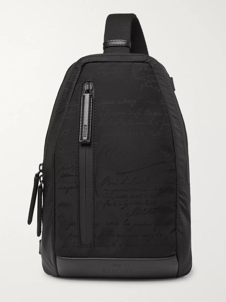 Berluti Verso Scritto Leather-Trimmed Printed Nylon and Mesh Backpack