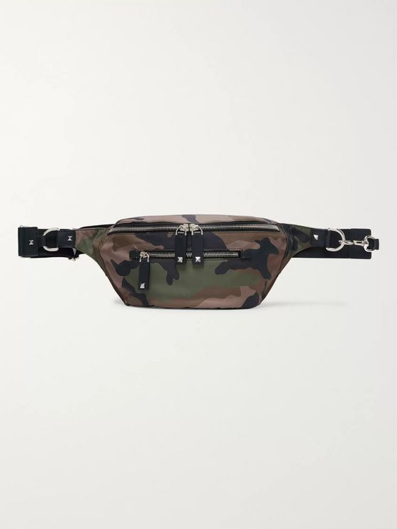 Valentino Valentino Garavani Leather-Trimmed Camouflage-Print Canvas Belt Bag