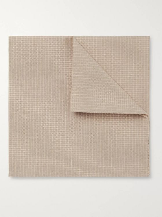 Oliver Spencer Kersley Micro-Checked Cotton And Linen-Blend Pocket Square