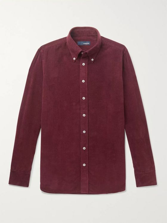 Lardini Button-Down Collar Cotton-Corduroy Shirt