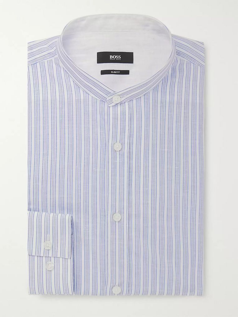 Hugo Boss Jowis Slim-Fit Grandad-Collar Striped Cotton and Linen-Blend Shirt