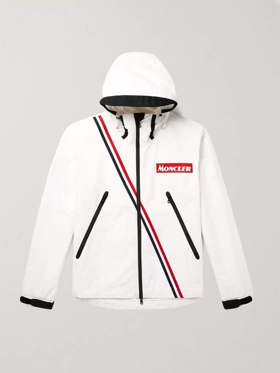 Moncler Trakehner Striped Nylon Hooded Jacket