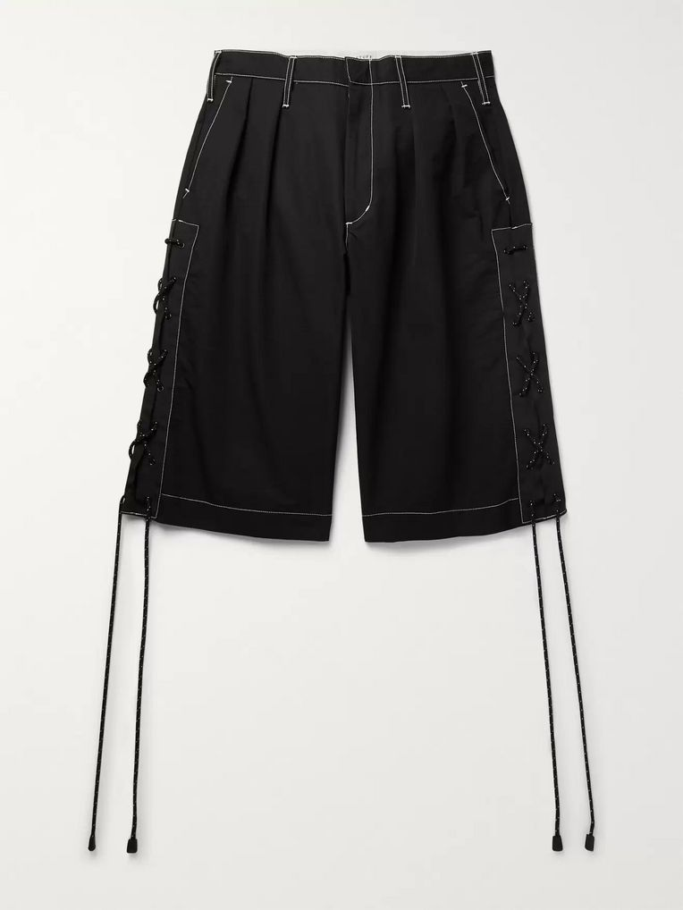 Flagstuff Wide-Leg Pleated Webbing-Trimmed Cotton-Blend Shorts