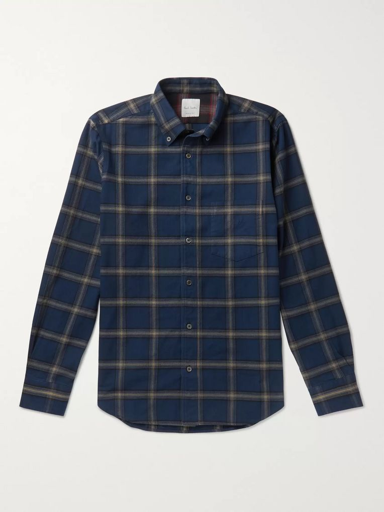 Paul Smith Button-Down Collar Checked Cotton-Flannel Shirt