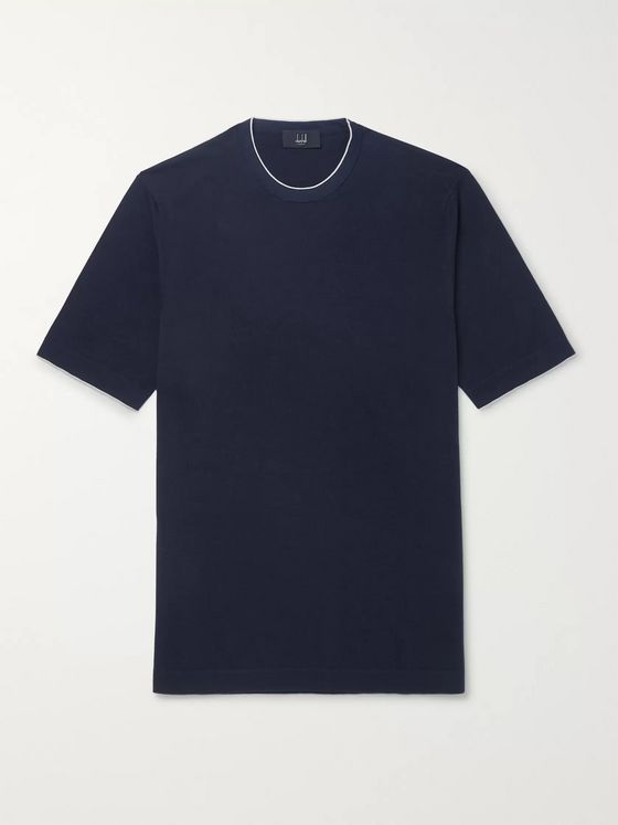 Dunhill Slim-Fit Silk-Trimmed Knitted Cotton T-Shirt