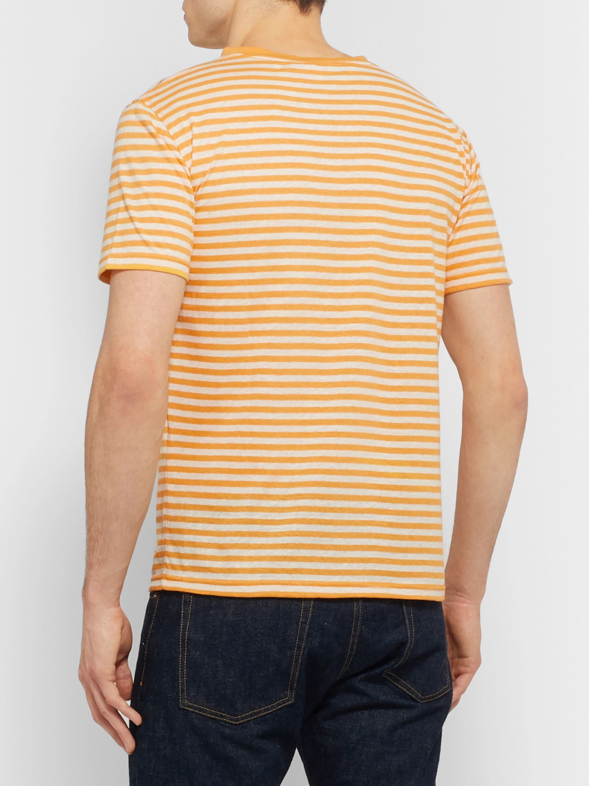 Armor Lux Slim-Fit Striped Cotton and Linen-Blend T-Shirt