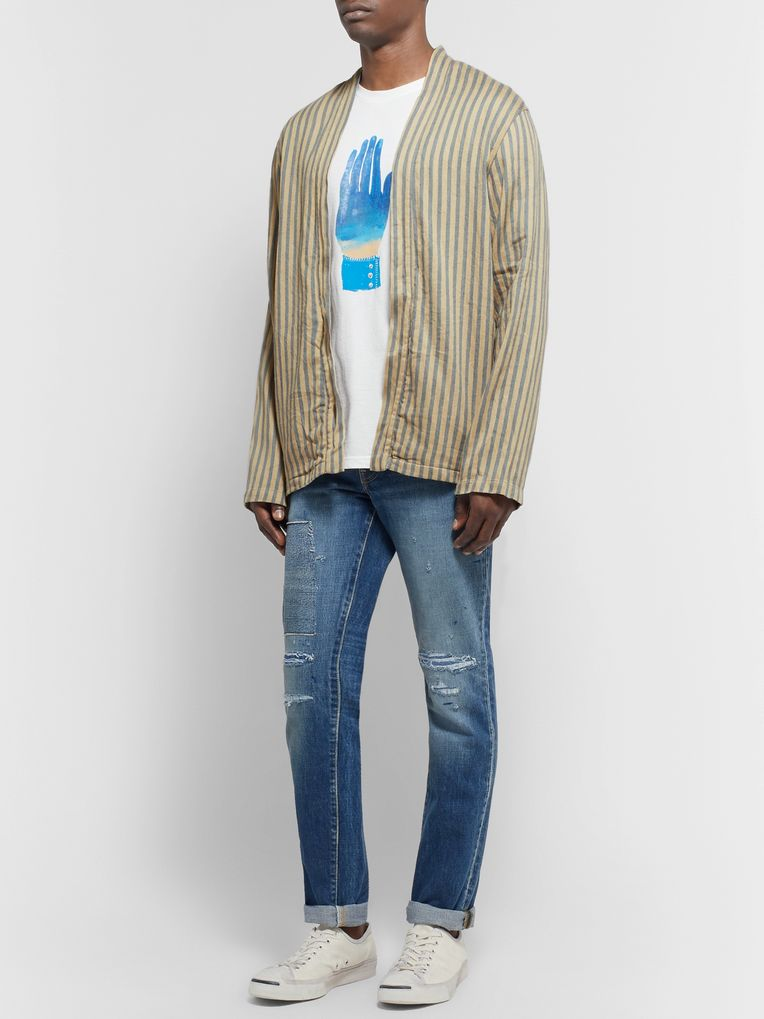 KAPITAL Striped Linen and Cotton-Blend Jacket