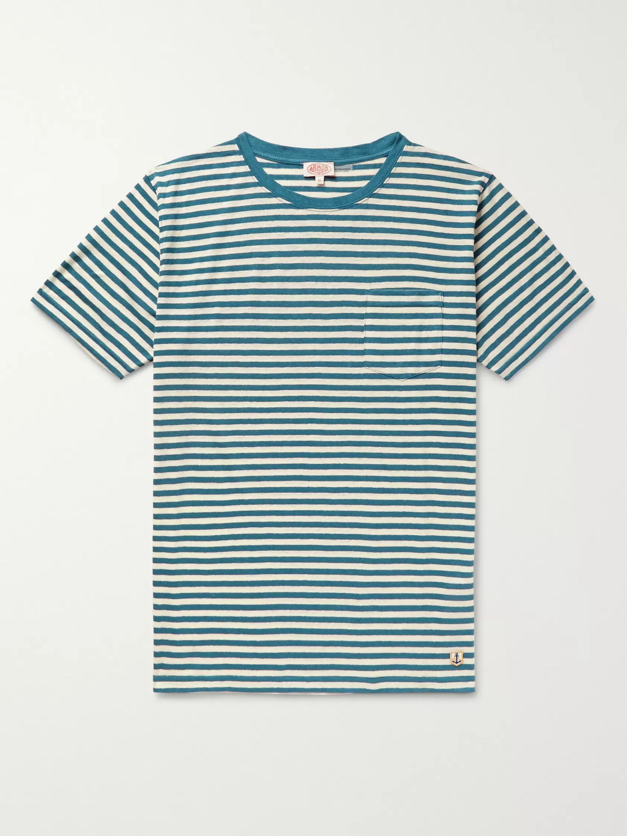 Armor Lux Striped Cotton and Linen-Blend Jersey T-Shirt