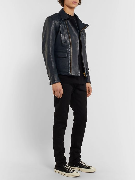 Blackmeans Slim-Fit Leather Biker Jacket