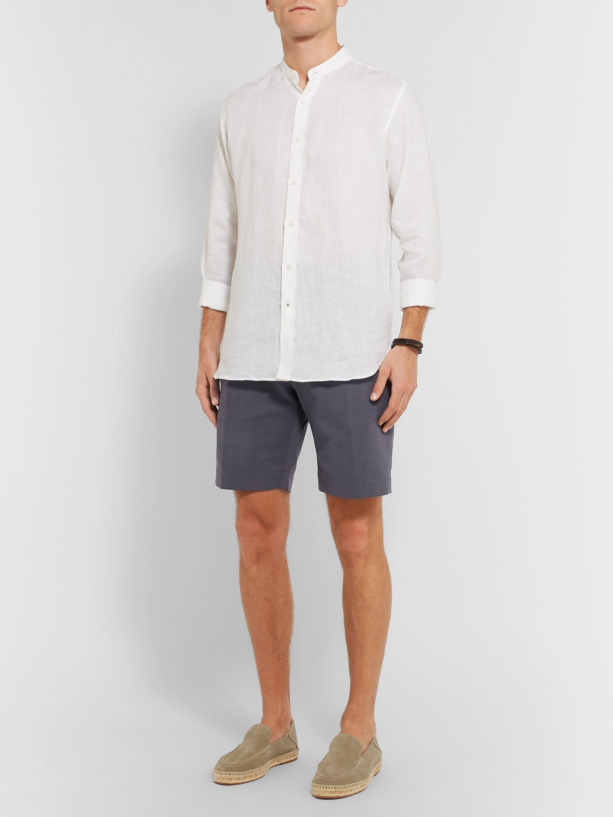Anderson & Sheppard Brushed Cotton-Twill Shorts