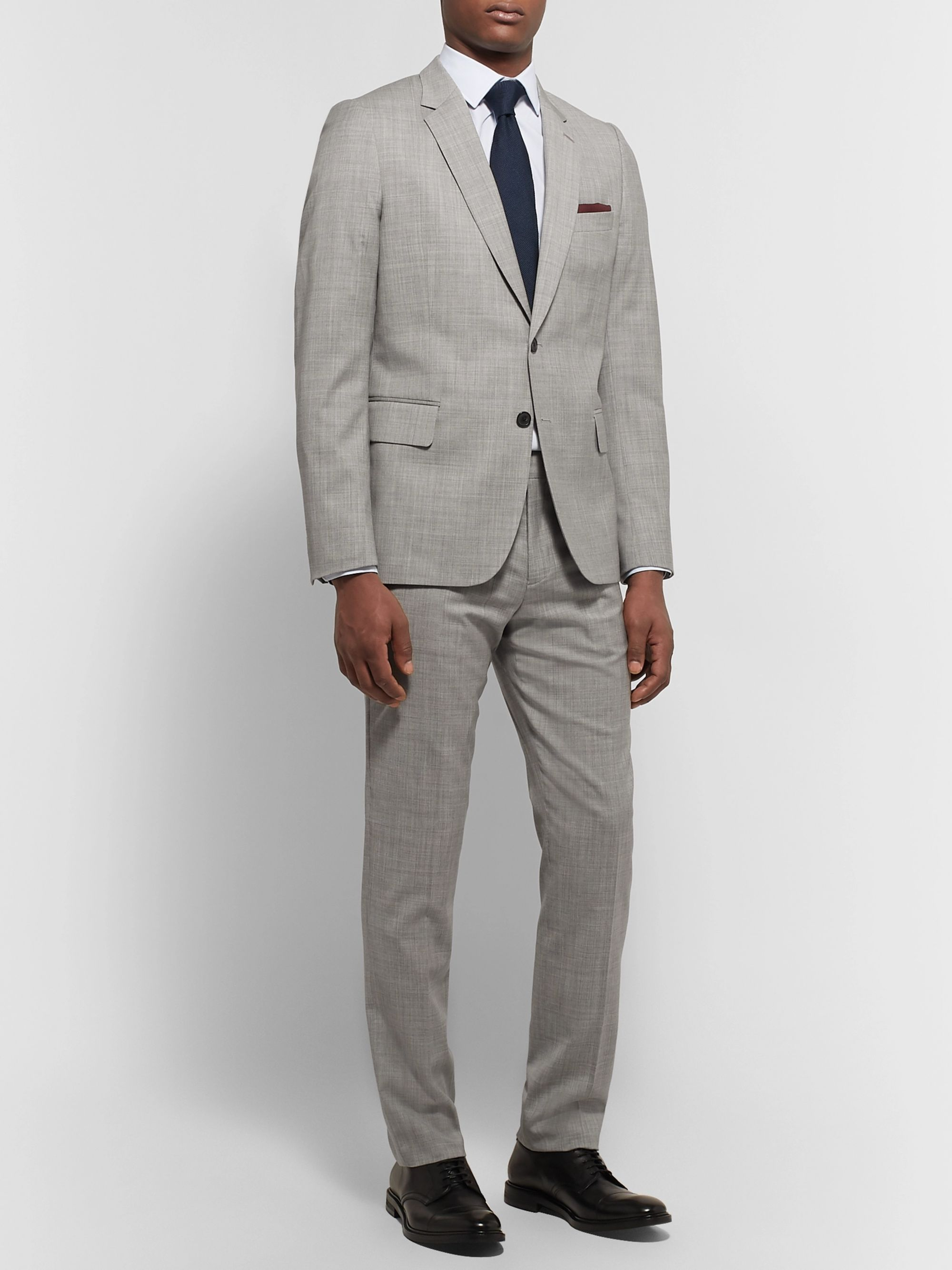 Paul Smith Light-Grey Slim-Fit Mélange Wool Suit Trousers
