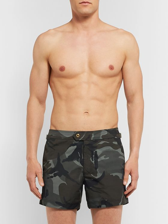 TOM FORD Slim-Fit Short-Length Camouflage-Print Swim Shorts