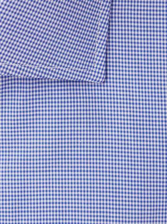 Turnbull & Asser Navy Slim-Fit Cutaway-Collar Micro-Gingham Cotton-Poplin Shirt