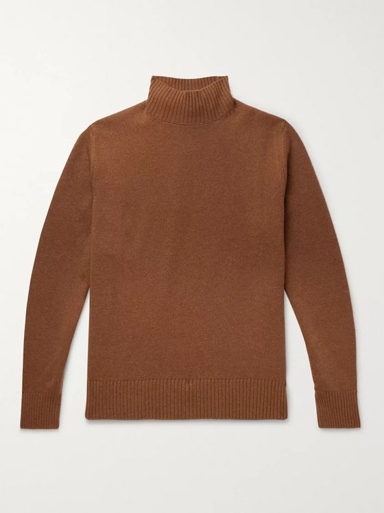 Thom Sweeney Wool and Cashmere-Blend Mock-Neck Sweater