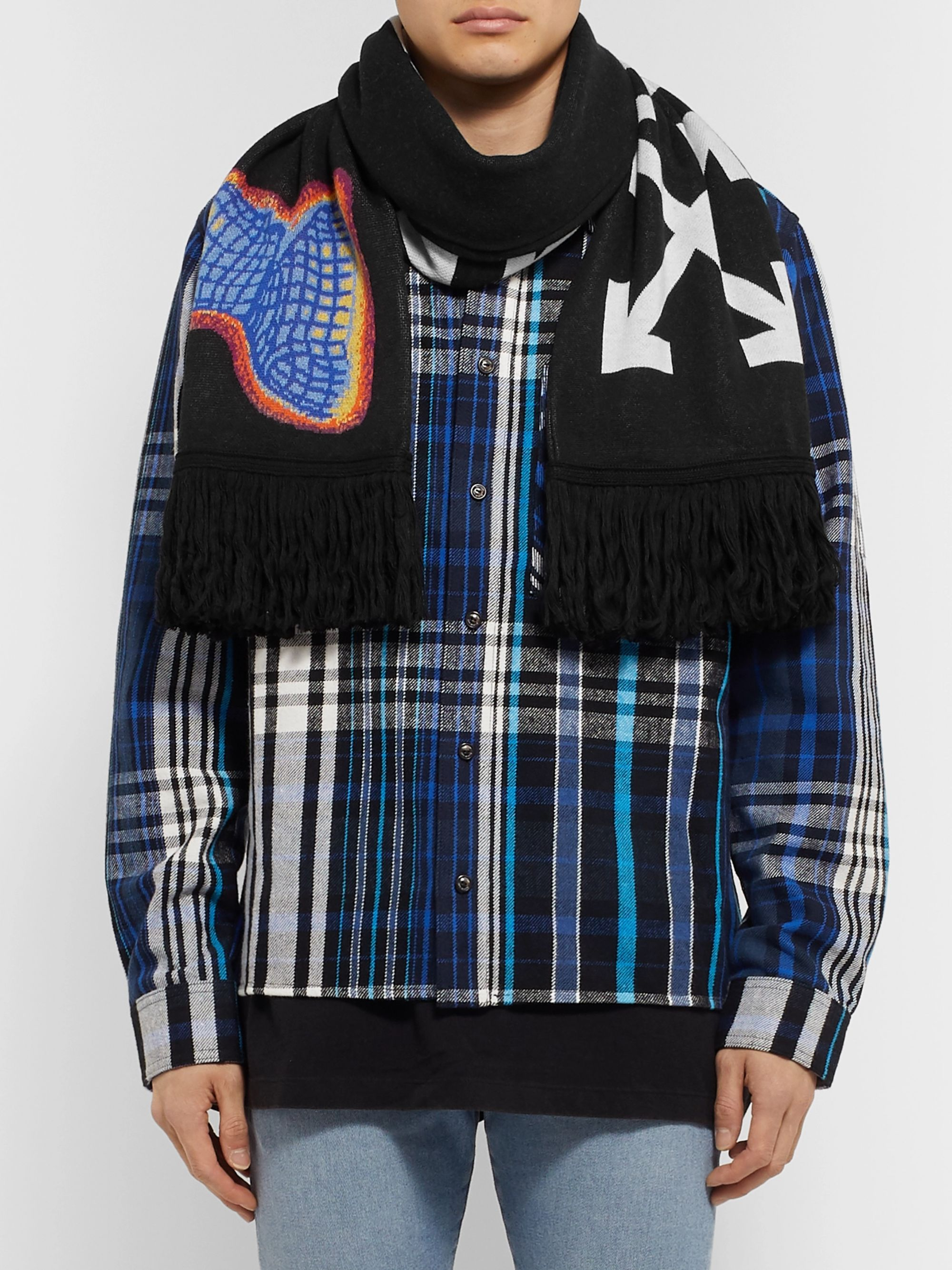 Off-White Fringed Logo-Intarsia Knitted Scarf