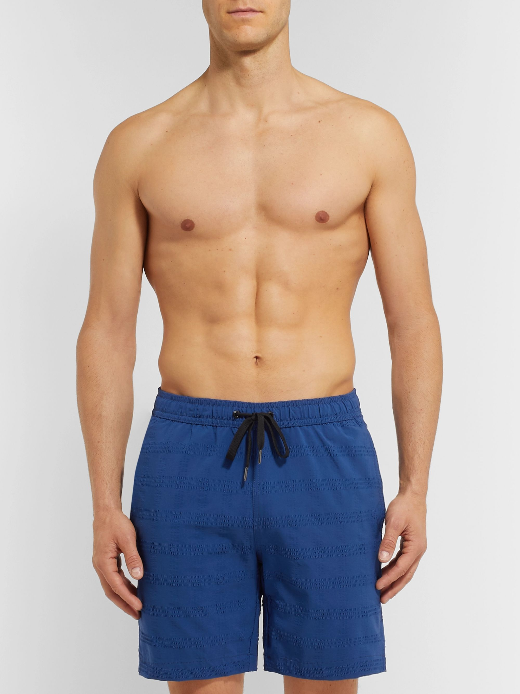 Onia Charles Mid-Length Seersucker Swim Shorts