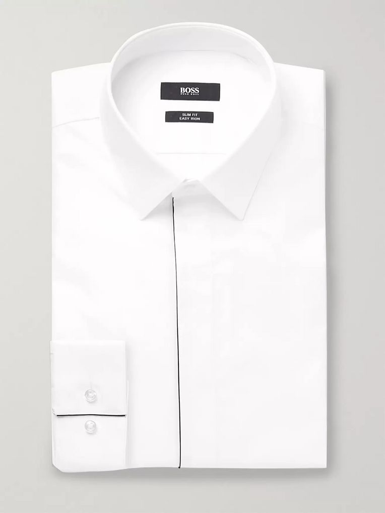 Hugo Boss White Ivan Slim-Fit Cotton-Poplin Tuxedo Shirt