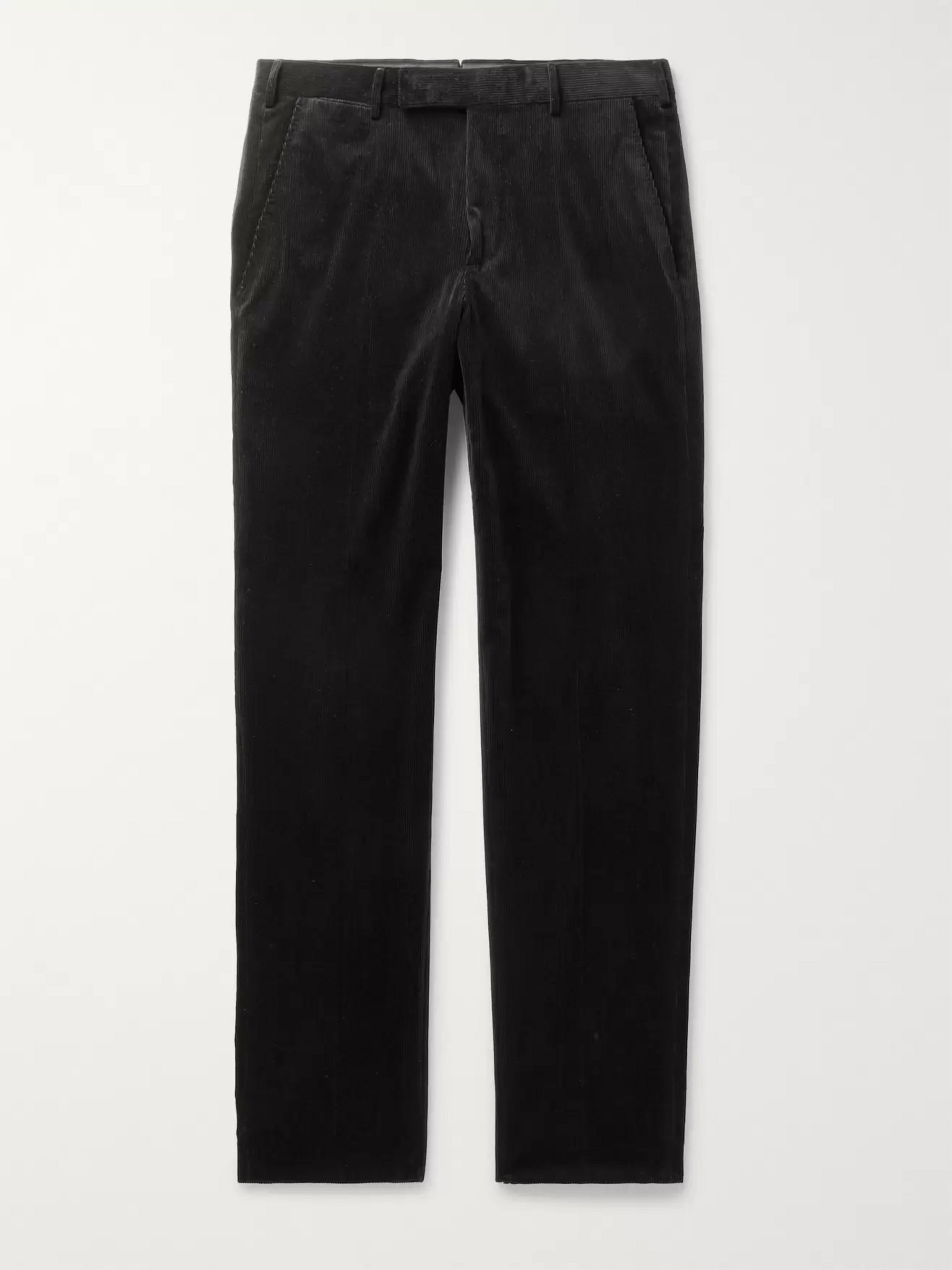 Ermenegildo Zegna Black Stretch Cotton and Cashmere-Blend Corduroy Trousers
